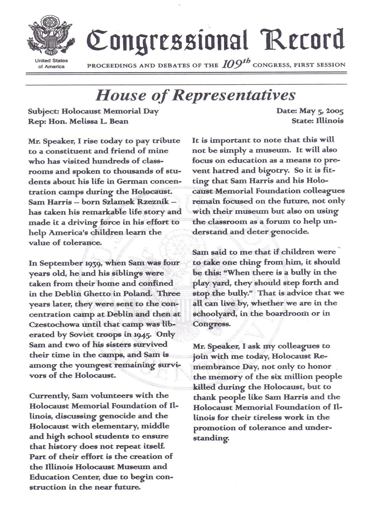 CongressionalRecord5-5-2005